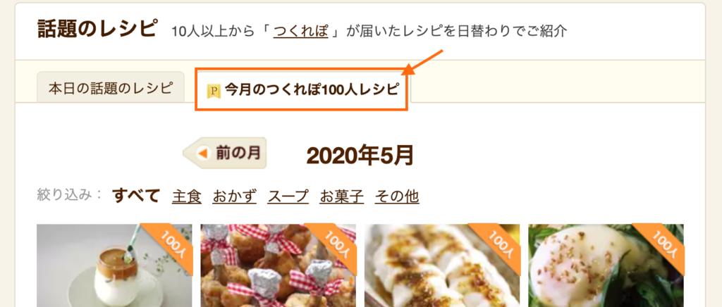 今月のつくれぽ100人レシピ