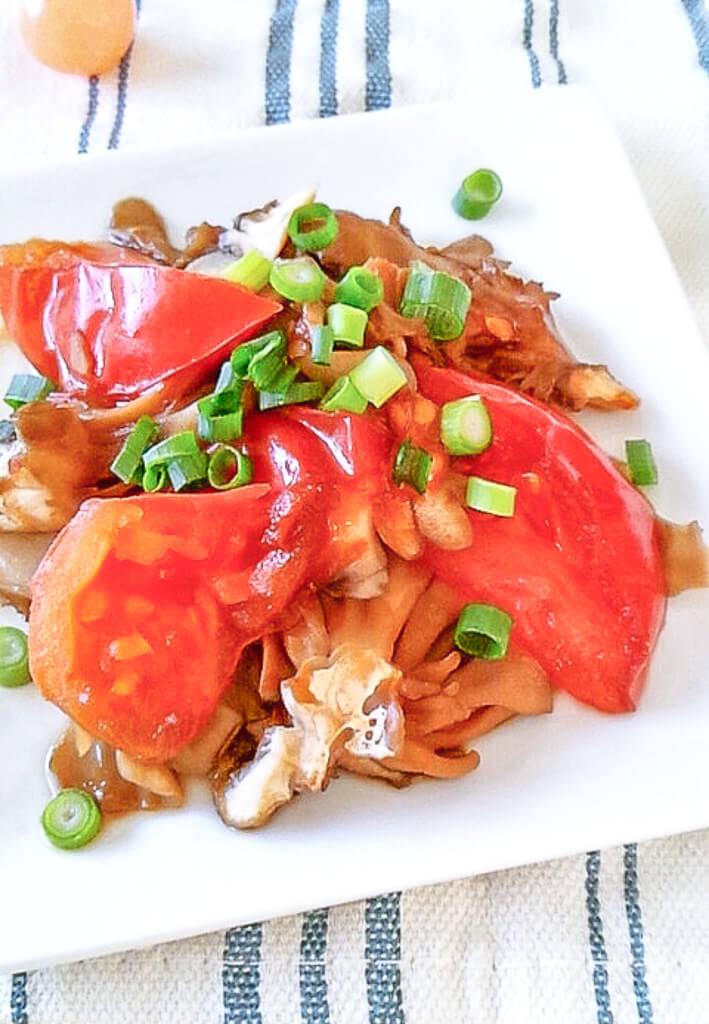 トマトと舞茸の醤油蒸し