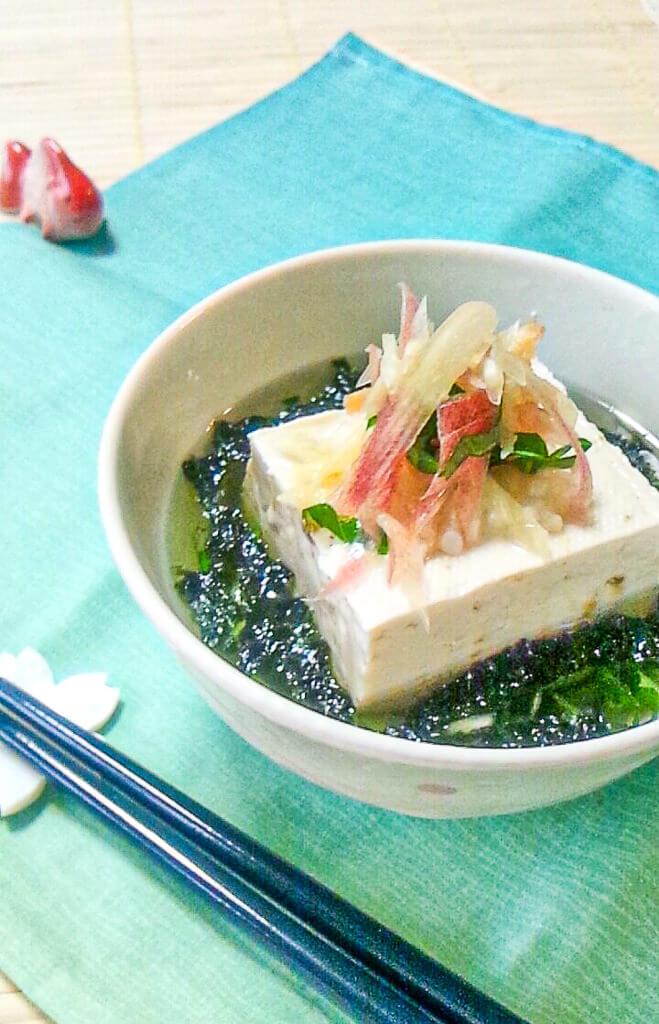 薬味と豆腐の塩麹茶漬け