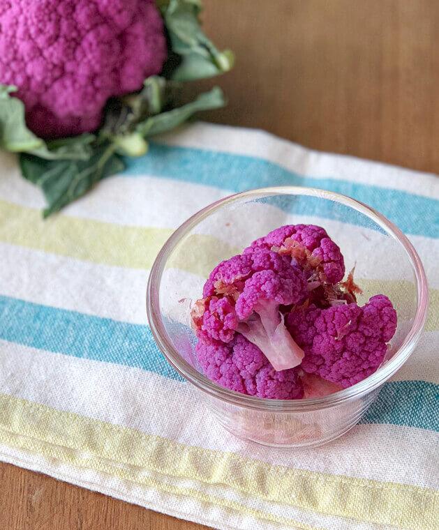 紫カリフラワー の減塩甘酢漬け